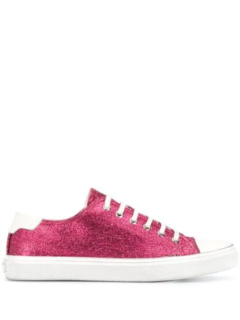 Saint Laurent Glittery Sneakers In Pink