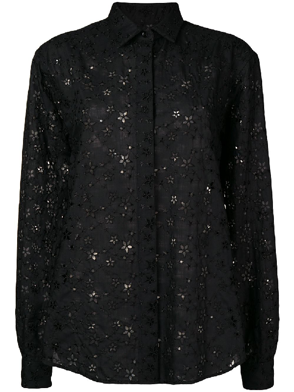 1f9e2312 Saint Laurent Star-Embroidered Eyelet Button-Front Blouse In Black ...