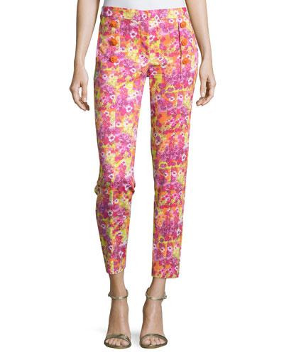 Versace Slim-Fit Ankle Pants, Orange