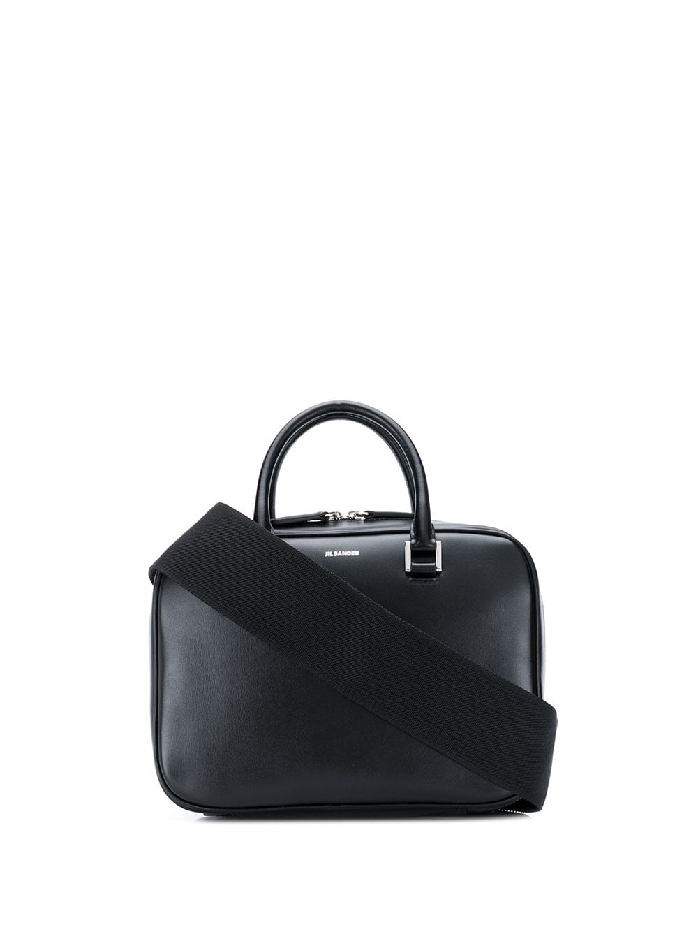 59e515f08e5b Black calf leather small J-Vision tote bag from Jil Sander featuring round  top handles