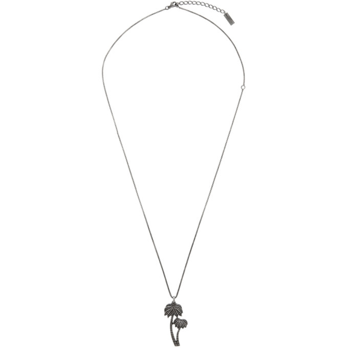 edd8335089 Saint Laurent Silver Palm Charm Pendant Necklace in 8142 Ox.Sil