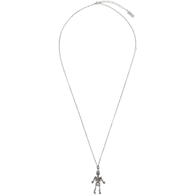 5874162a5c Saint Laurent Silver Skeleton Charm Pendant Necklace in 8142 Ox.Sil