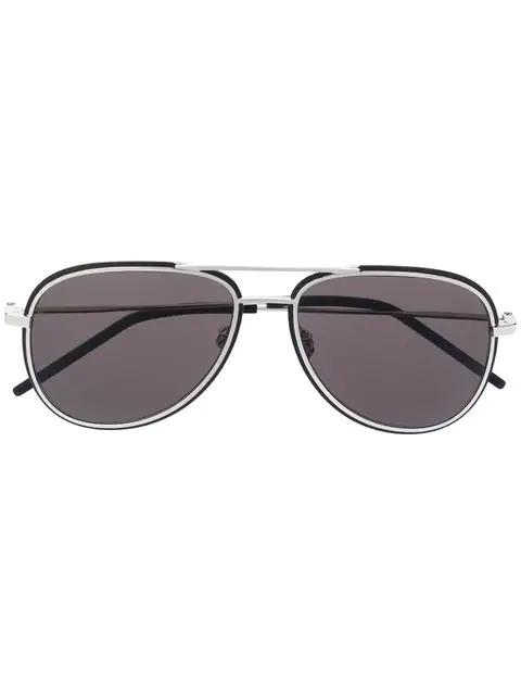 Saint Laurent 61Mm Aviator Sunglasses - Silver/ Black