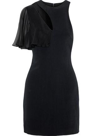 Cushnie Et Ochs Cushnie Woman Ruffled Chiffon-paneled Cutout Stretch-cady Mini Dress Black