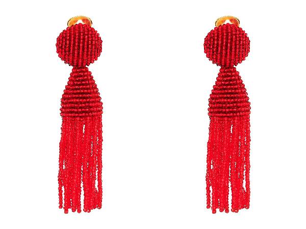 Oscar De La Renta Short Beaded Tassel Clip-On Earrings In Cuprite