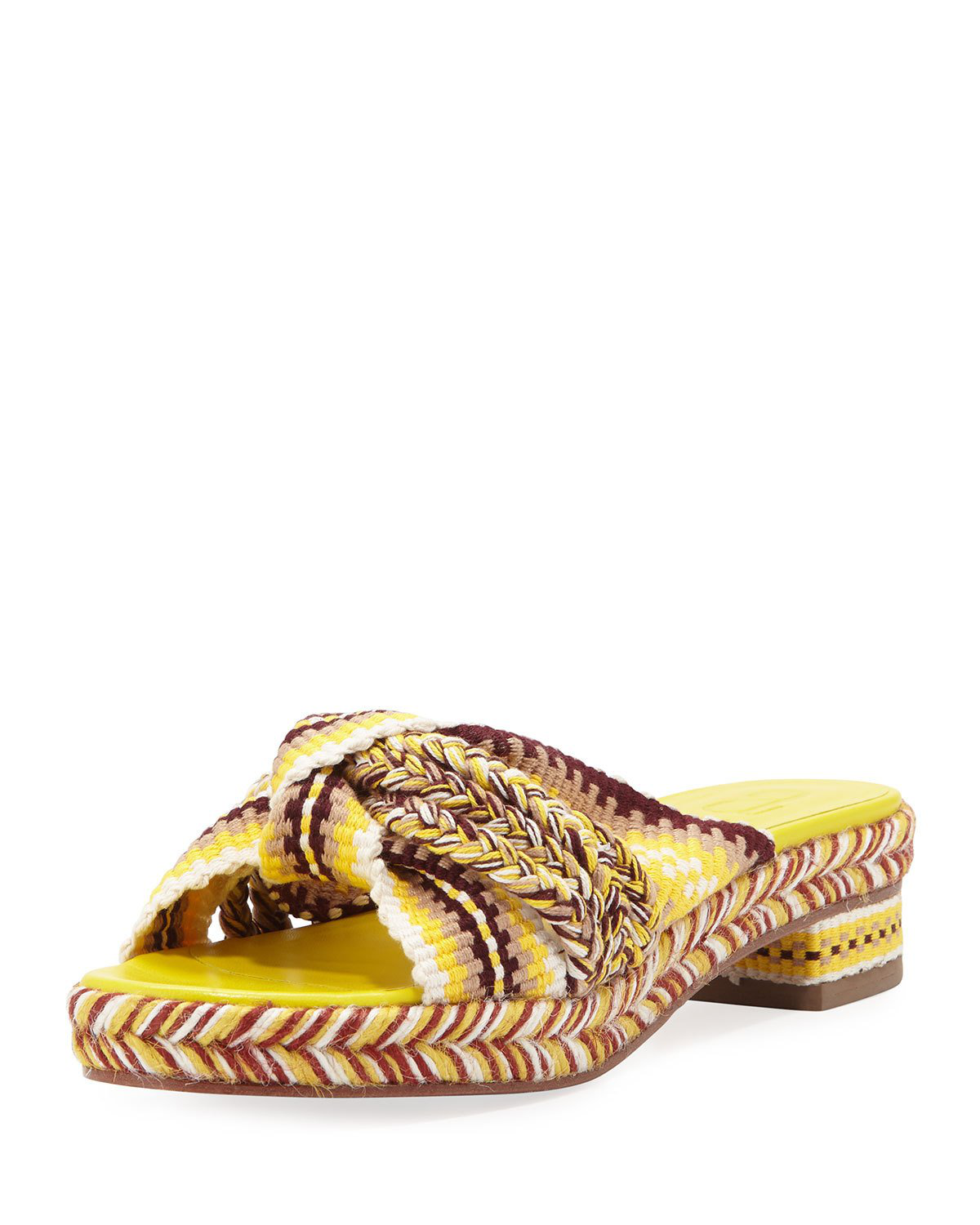 4e1982f3d28 Antolina Bella Braided Slide Sandals In Yellow Pattern
