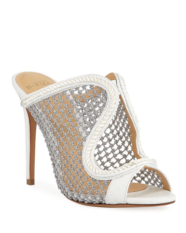 Alexandre Birman Amanda Metallic Woven Mule Sandals In White