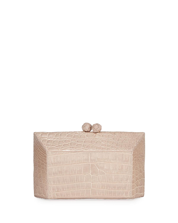 ac815dfaf843 Nancy Gonzalez Geo Kiss-Lock Metallic Crocodile Minaudiere Clutch Bag In  Champagne