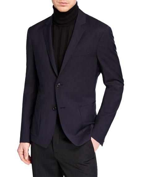 Prada Slim Virgin Wool & Mohair Twill Jacket In Navy