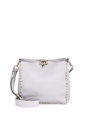 be6a9856ad Valentino Rockstud Grained Leather Small Hobo Bag In Pastel Grey ...