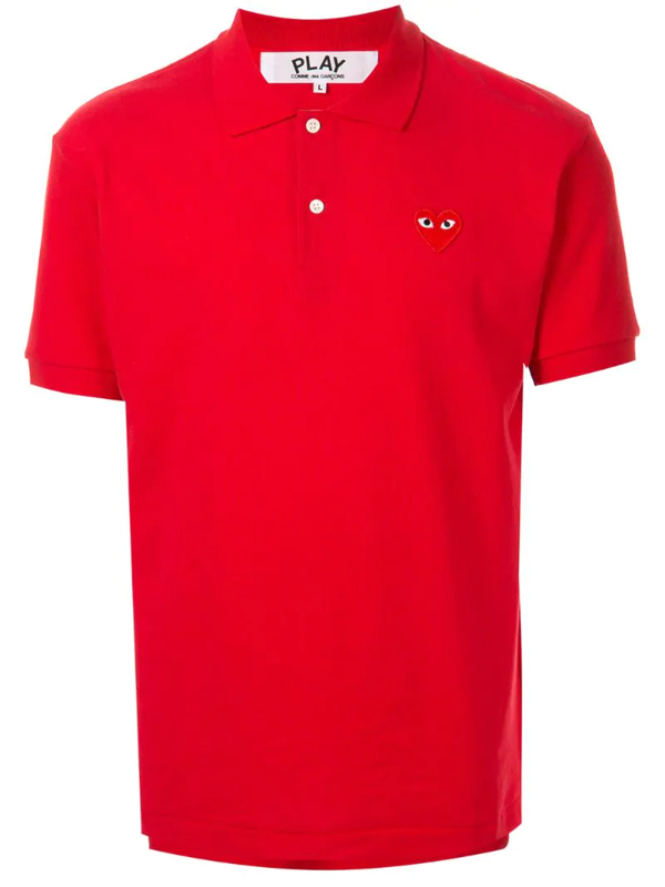 Comme Des Garçons Play Play Pique Polo With Heart Applique In Red