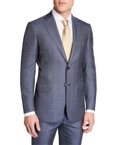 0c87283e Men's Plaid Wool-Silk Two-Piece Suit in Blue