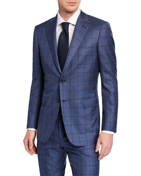 Brioni Men's Windowpane Wool-Silk Two-Piece Suit In Blue