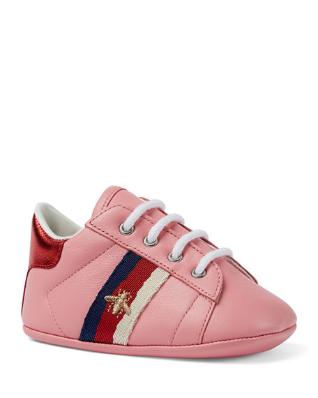 Gucci New Ace Bee Embroidery Web-Trim Leather Sneakers, Baby/Toddler In Pink