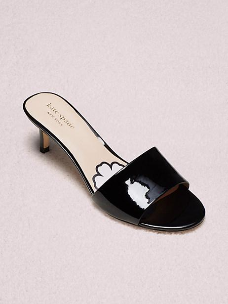 Kate Spade Savvi Kitten Heel Slide Sandals In Black