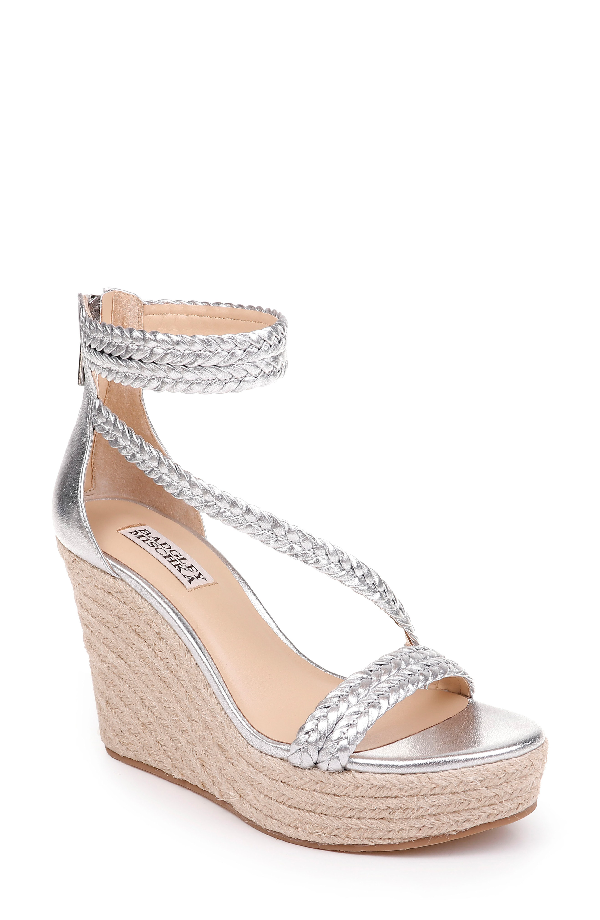 f78cb198f30 Women's Lita Metallic Leather Wedge Espadrille Sandals in Silver Metallic  Leather
