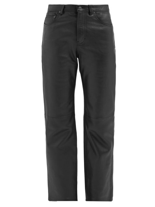 Acne Studios Mid-Rise Leather Trousers In Black