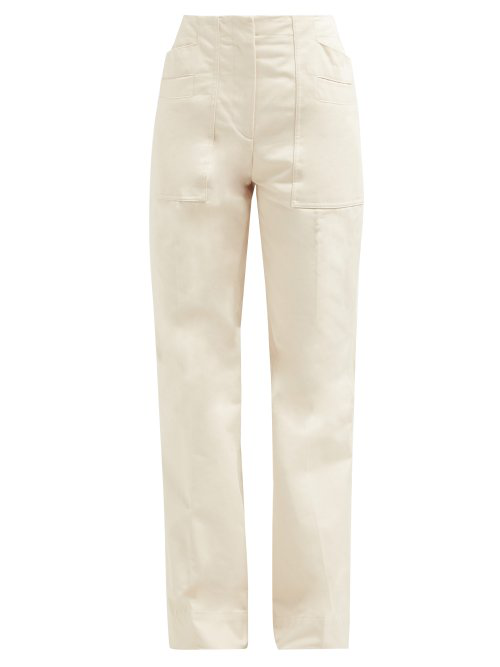Acne Studios Patch-Pocket Flared Cotton Trousers In Ivory