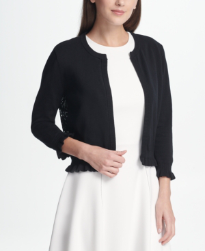 Dkny Open Front Cardigan With Lace Back, Created For Macy's In Black