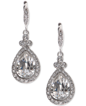 Givenchy Pave & Colored Stone Drop Earrings In Silver