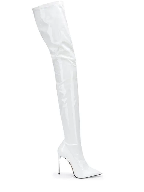 Le Silla Over The Knee Boots In White