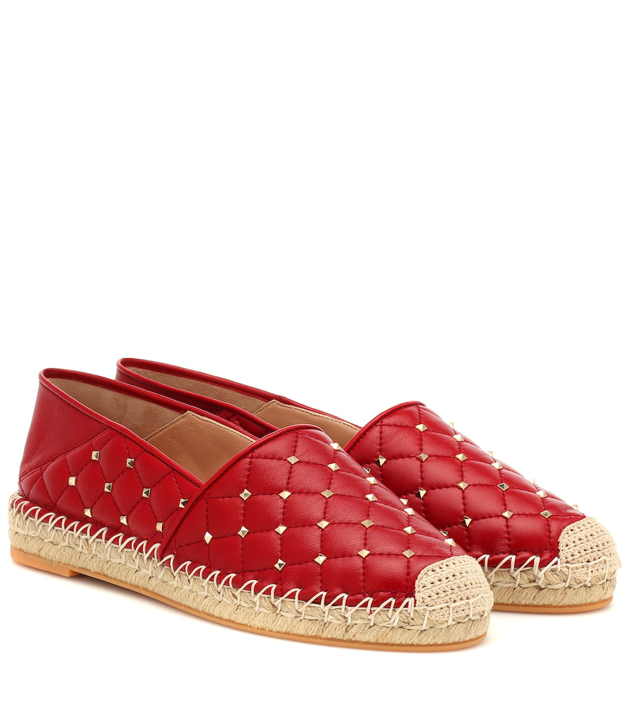 Valentino Rockstud Leather Espadrilles In Red