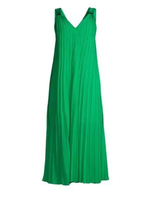 883b343daf Escada Sport Daheem V-Neck Pleated Maxi Dress In Green Lush | ModeSens
