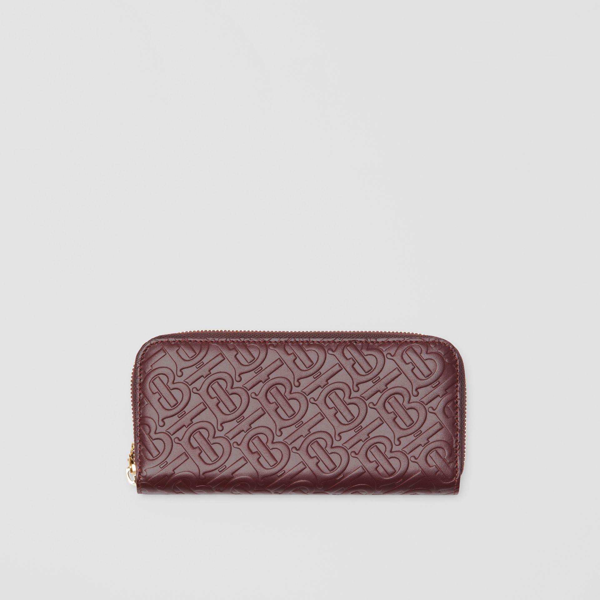 Burberry Monogram Leather Ziparound Wallet In Oxblood