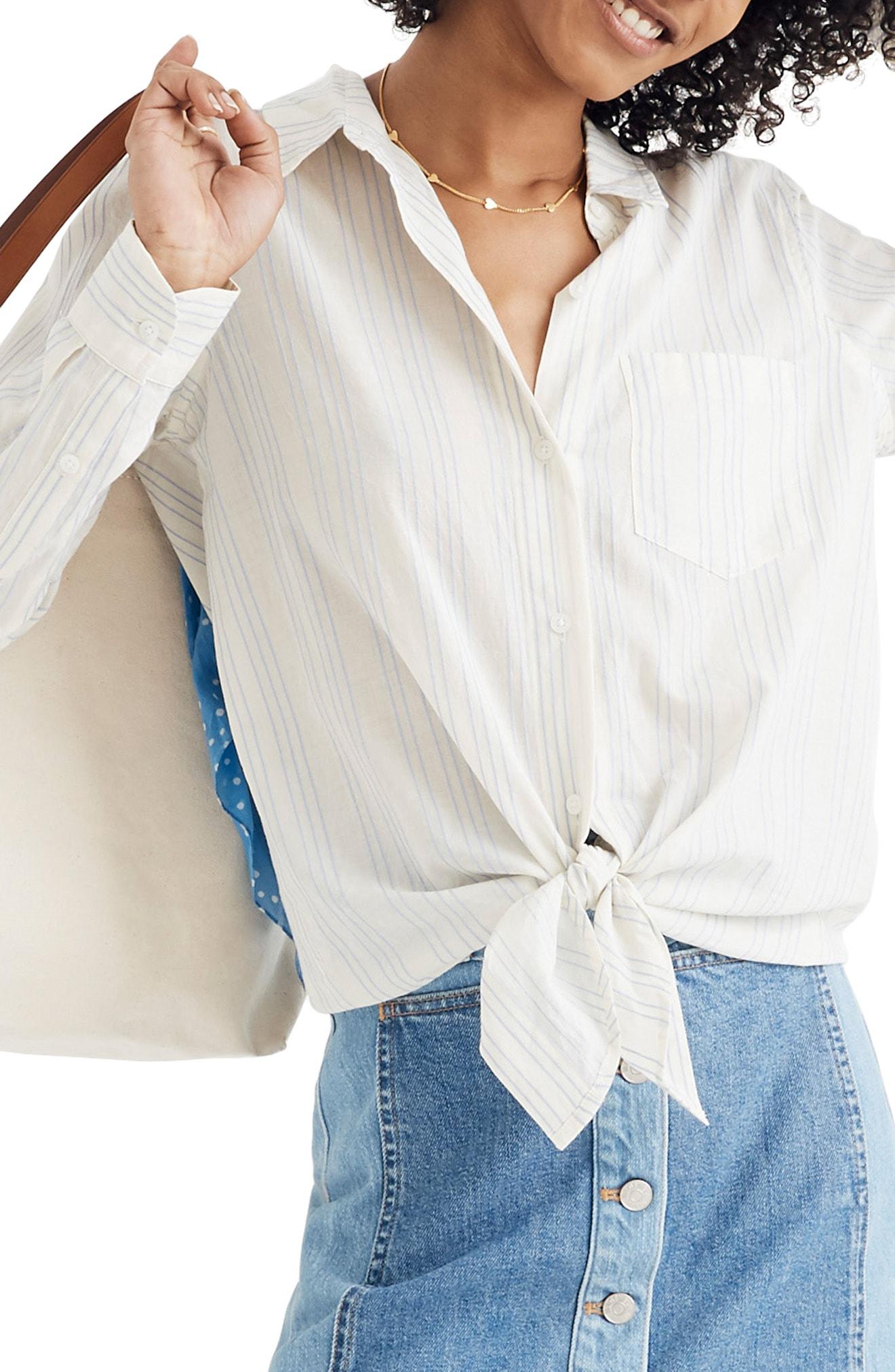 e6d045d1e1 Madewell Tie Front Shirt In Pale Parchment Abbie | ModeSens