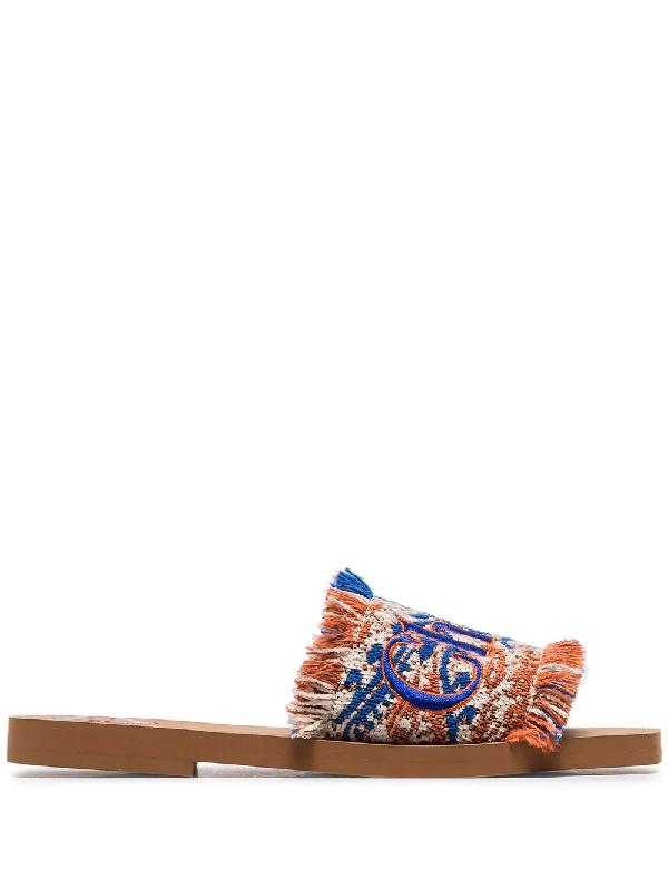 9b4bf4dd2 CHLOÉ. Woody Flat Fringed Slide Sandals ...