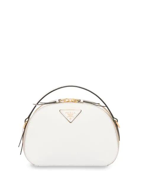 Prada Odette Saffiano Leather Shoulder Bag In White