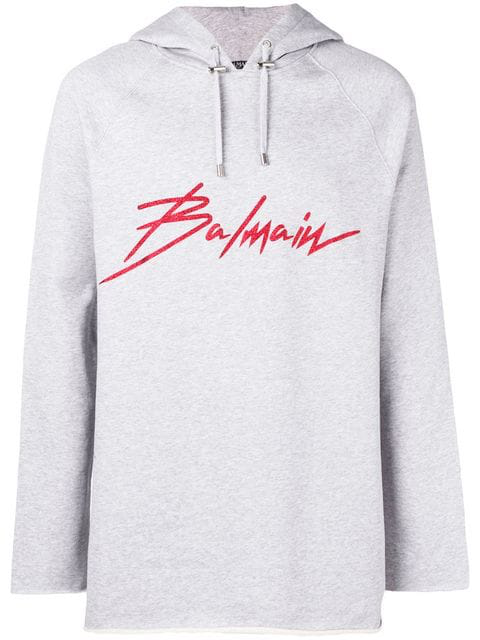Balmain Logo Print Cotton Sweatshirt Hoodie In Grey