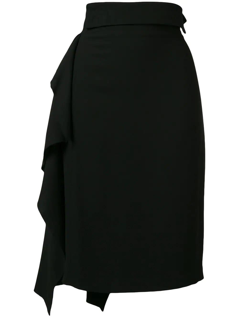 5f37c4bd8 MAISON FLANEUR. Maison Flaneur Ruffle Pencil Skirt - Black
