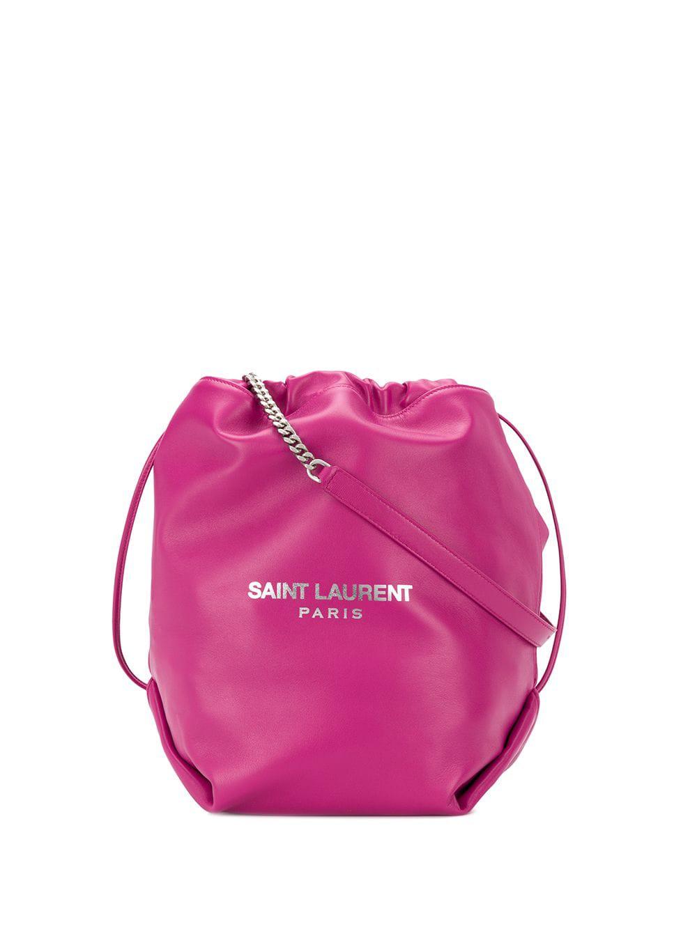 Store Status Price. Saint Laurent Drawstring Bucket Shoulder Bag - Pink 68327e79c52ef
