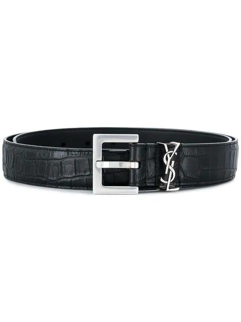 Saint Laurent Croco Embossed Monogram Belt In Black