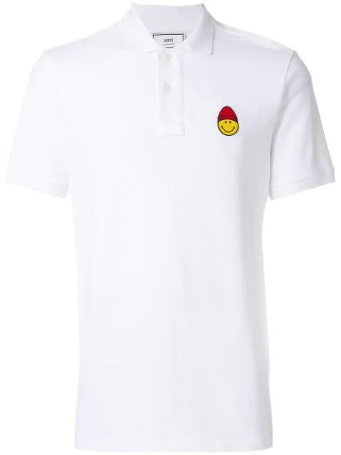 Ami Alexandre Mattiussi Short Sleeved Polo Shirt Smiley Patch In Blanc