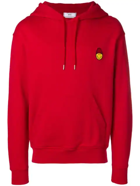 Ami Alexandre Mattiussi Hoodie With Patch Smiley In 600 Red
