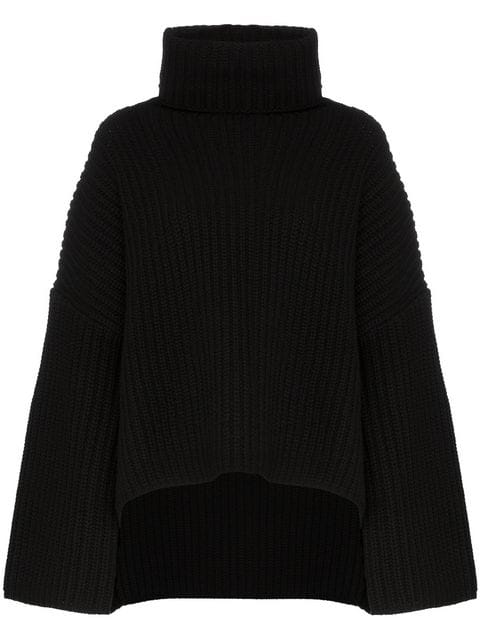Joseph Turtleneck Ribbed Wool Sweater In Black