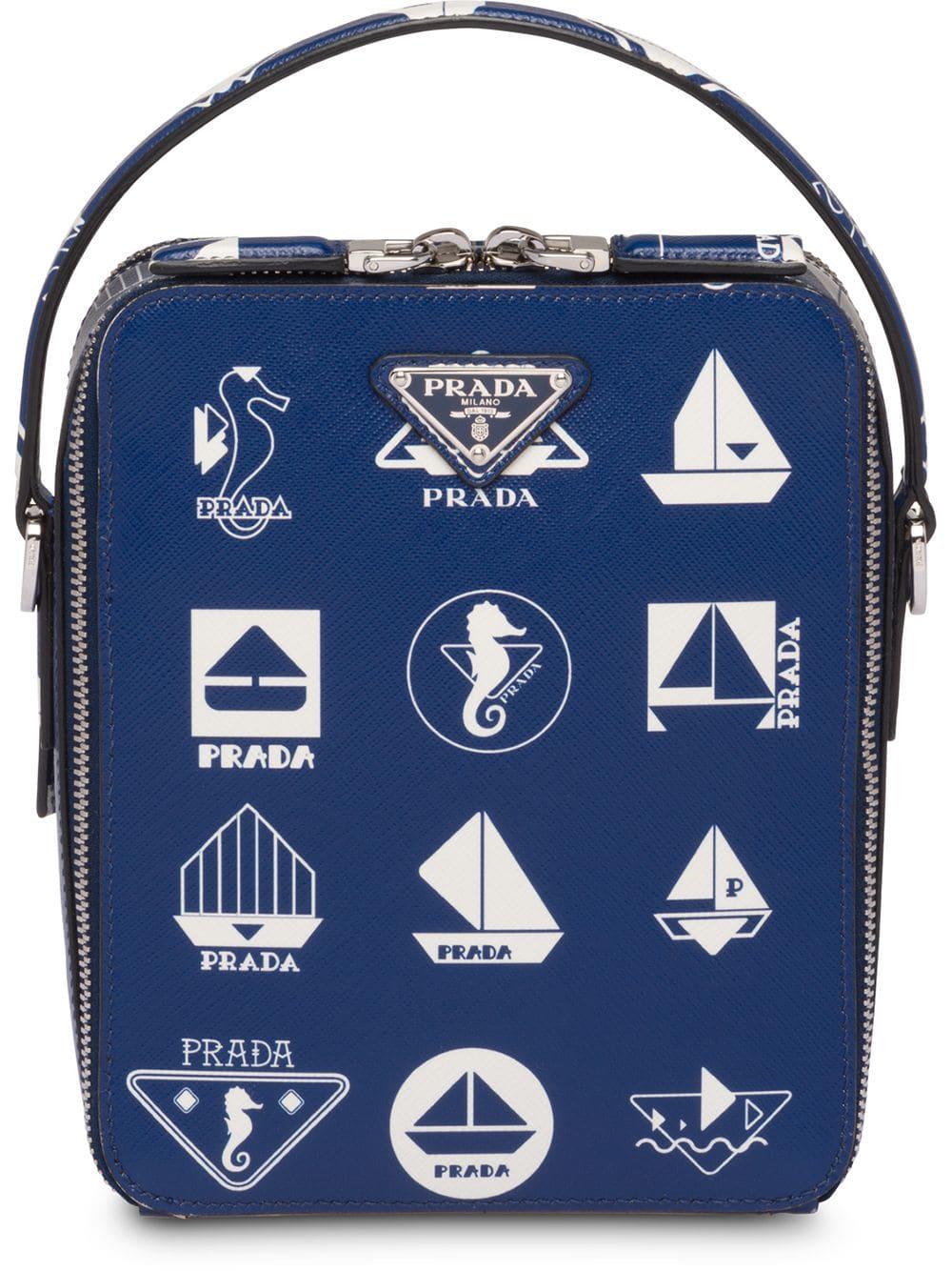 82ddfac59c02 Prada Brique Saffiano Bag - Blue