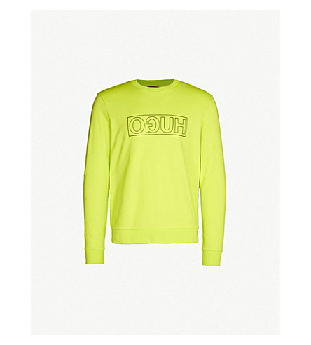 Hugo Logo-print Cotton-jersey Sweatshirt In Bright Yellow