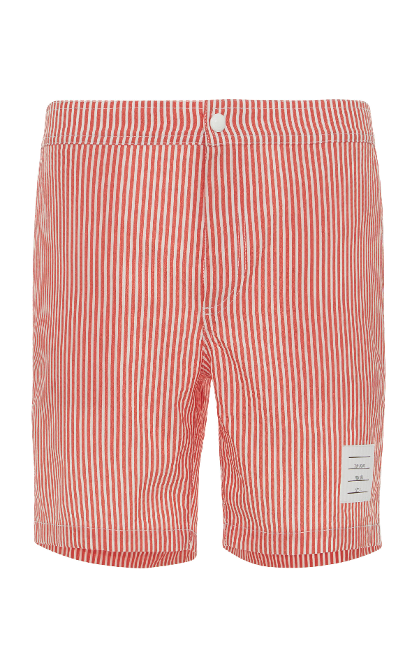 b665e75d40 Thom Browne Mid-Length Striped Seersucker Swim Shorts - Red | ModeSens