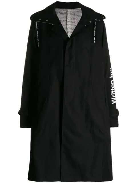 Takahiromiyashita The Soloist Printed Cotton-Gabardine Trench Coat In Black-C(Kurt Cobain)