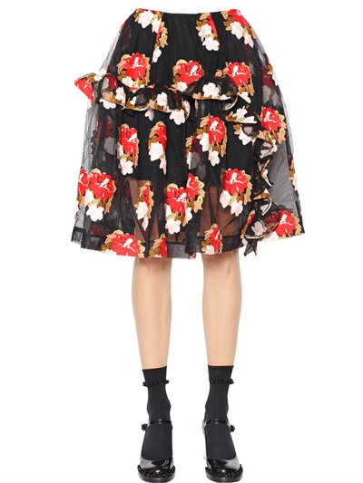 Simone Rocha Ruffled Floral Embroidered Tulle Skirt In Black