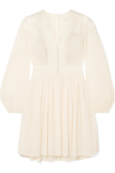 Zimmermann Linen-Trimmed PlissÉ-Jacquard Mini Dress In White