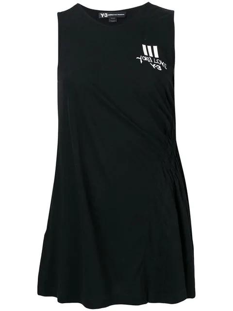 Y-3 Long Logo Tank Top In Black