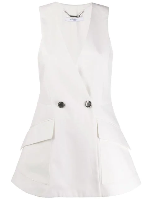 Givenchy Sleeveless V-Neck Logo-Button Peplum Top In 105 Ivory