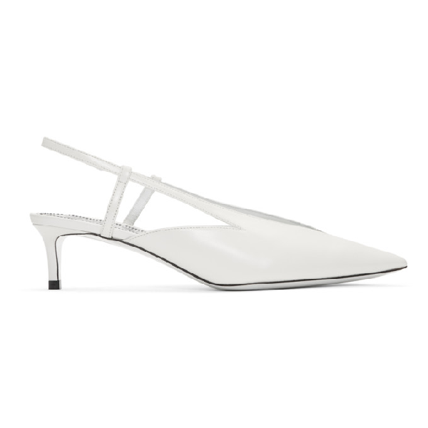 Givenchy Metallic Glossed Leather Slingback Pumps In 100 White