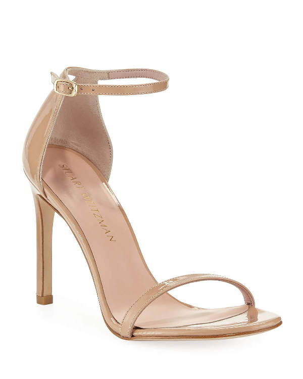 Stuart Weitzman Nudistsong Patent Ankle-Wrap Sandals In Desert Rose