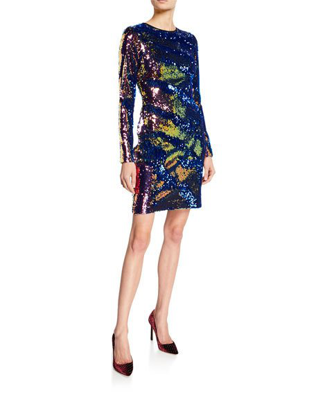 07e9e2566af4 Nk32 Naeem Khan Long-Sleeve Sequin Mini Dress In Blue/Gold | ModeSens