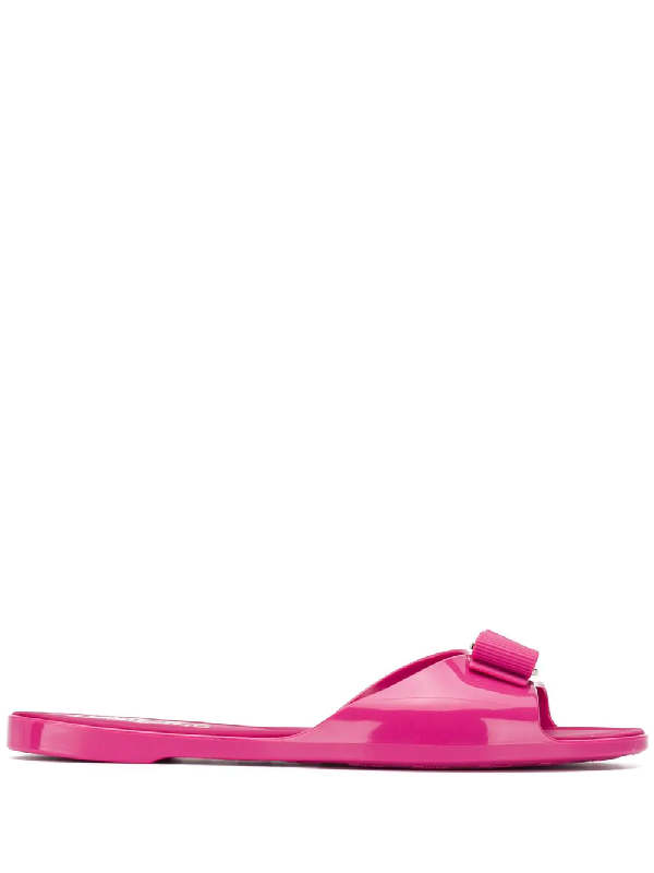 96b1088f7c16 Salvatore Ferragamo Cirella Flat Pvc Jelly Bow Slide Sandals